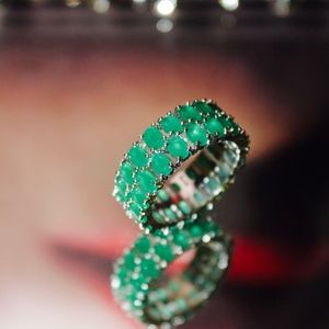 Jewelry - 18kt Gold Dipped Gorgeous Inlines Emerald Cut Ring